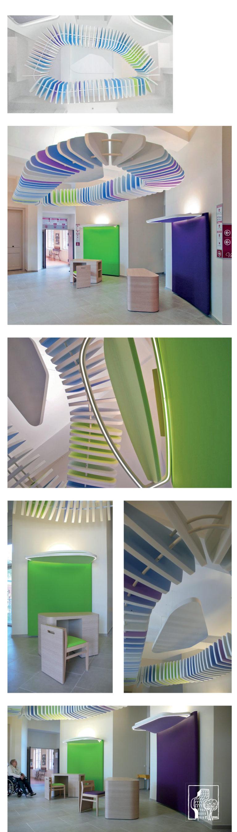 Elements architectural coloré et aerien pour améliorer l'accoustique d'un hall
